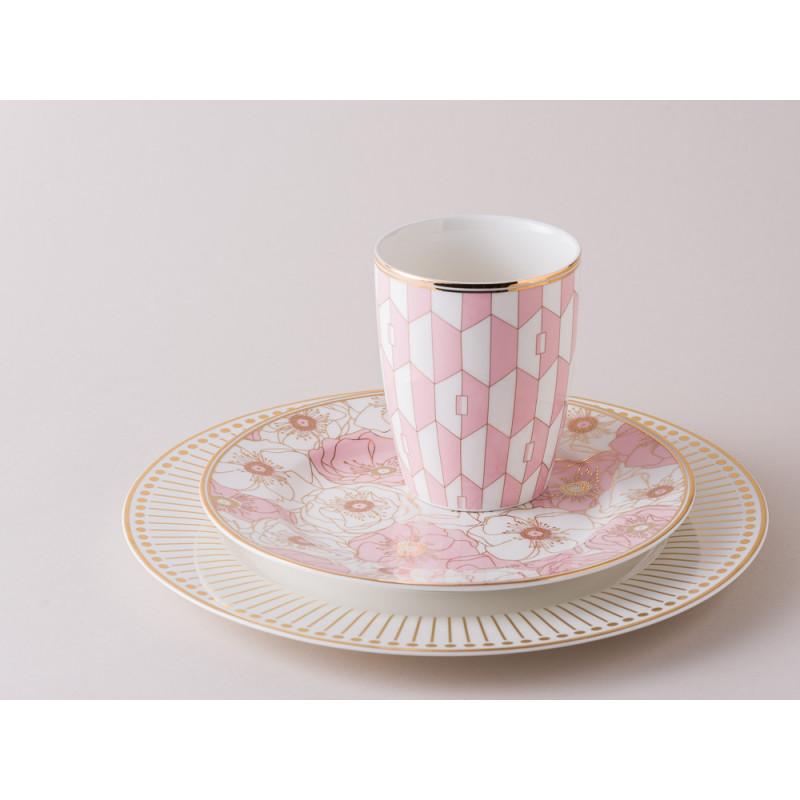 Greengate Gate Noir Geschirr Becher Aurelie Pink weiss Teller Flori Pale weiss rosa gold Farn