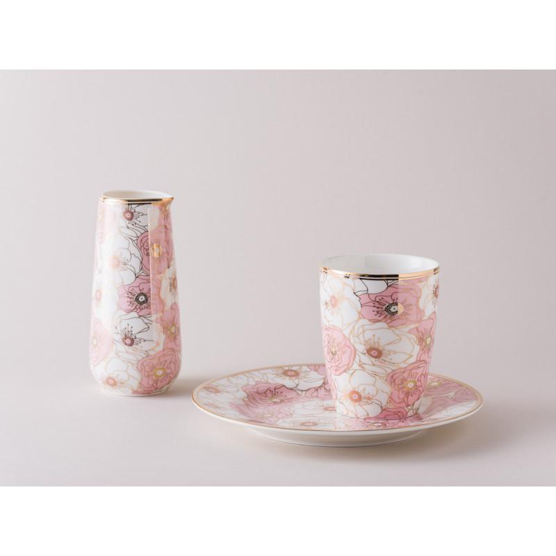 Greengate Gate Noir Geschirr Becher Teller und Milchkanne Flori Pale weiss rosa gold floral