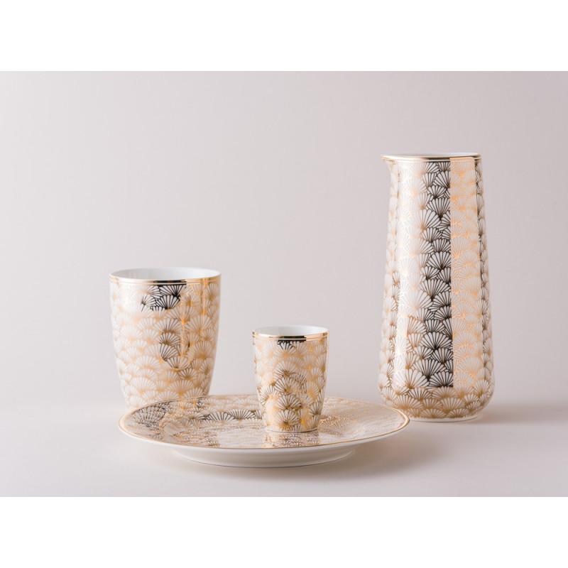 Greengate Geschirr Jacqueline Gold aus Porzellan Gate Noir Teller Krug Latte Cup Becher und Espresso Tasse