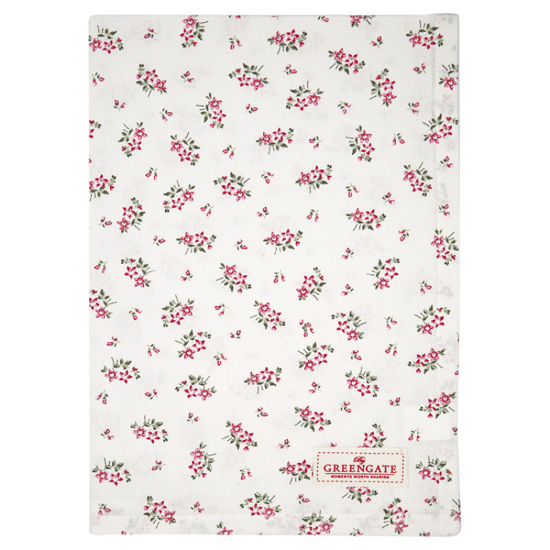 Greengate Geschirrtuch AVERY Weiss Blumen Rot Baumwolle 50x70 GG Produkt Nr COTTEAAVY0112