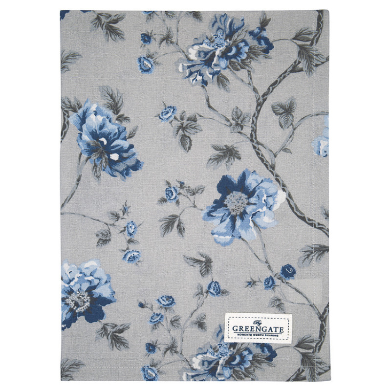 Greengate Geschirrtuch CHARLOTTE Grau Blau Blumen Baumwolle 50x70 GG Produkt Nr COTTEACHL8112