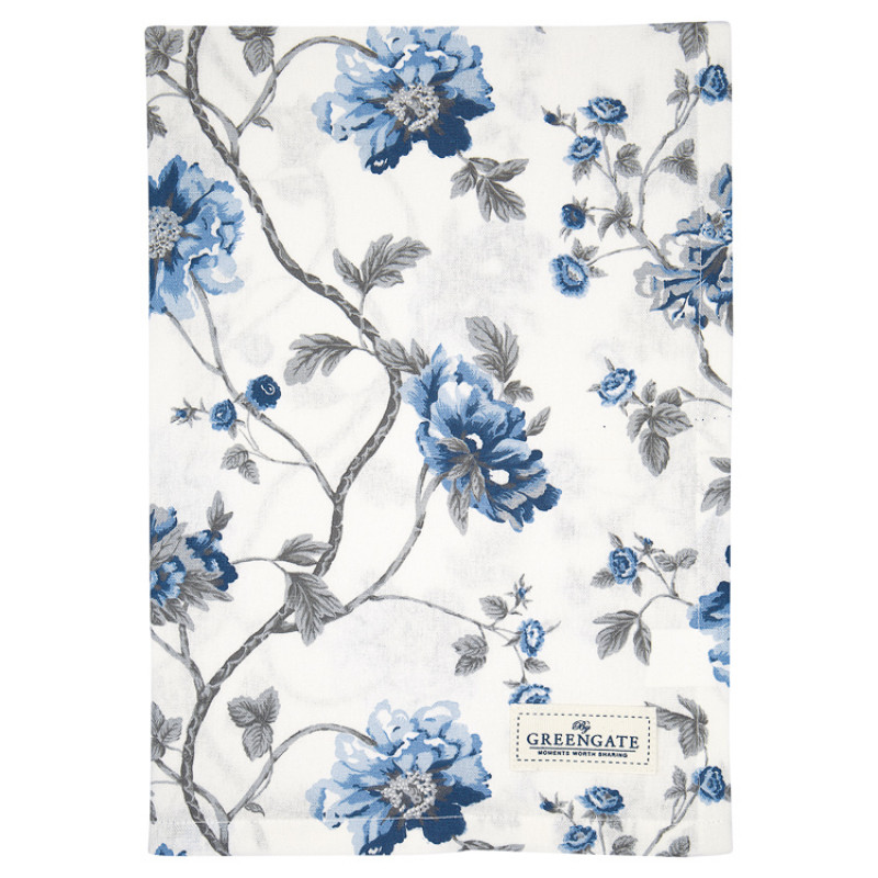 Greengate Geschirrtuch CHARLOTTE Weiss Blau Blumen Baumwolle 50x70 GG Produkt Nr COTTEACHL0112