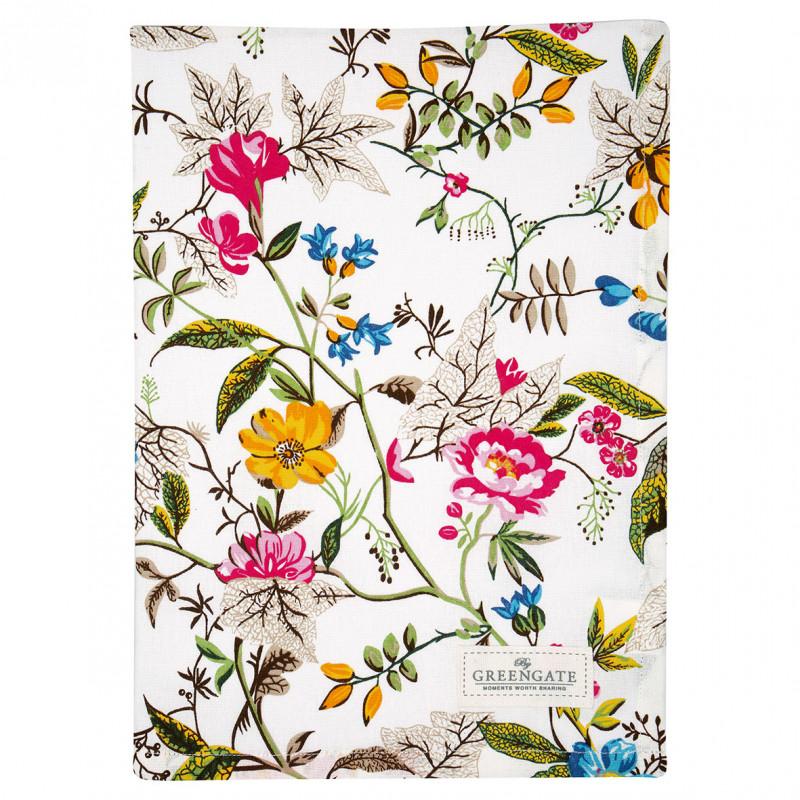 Greengate Geschirrtuch Ellen Weiß mit Blumen Geschirrhandtuch aus Baumwolle 50x70 cm Greengate Produkt Nummer COTTEAELE0112