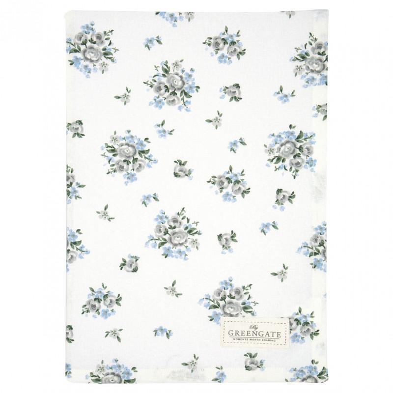 Greengate Geschirrtuch Nicoline Weiß mit blauen Blumen Geschirrhandtuch aus Baumwolle 50x70 cm Greengate Produkt Nummer COTTEANIC5812