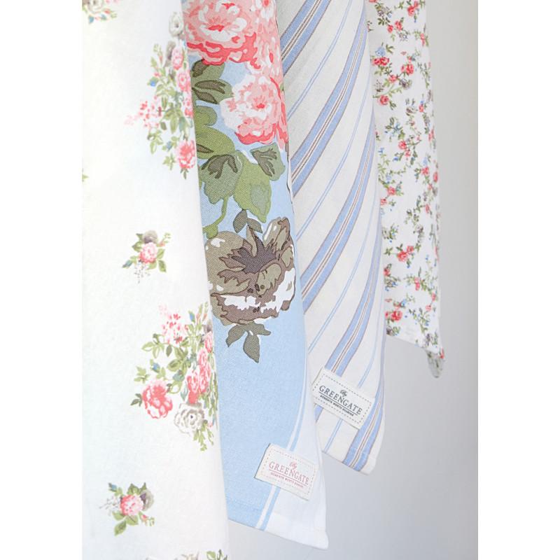 Greengate Geschirrtuch Petricia Weiss mit Blumen Petricia Pale Blue Blau mit Blume NICOLA Pale Blue Weiss Blau mit Streifen CARLY Weiss mit kleinen Blumen aus Baumwolle 50x70 Geschirrhandtuch