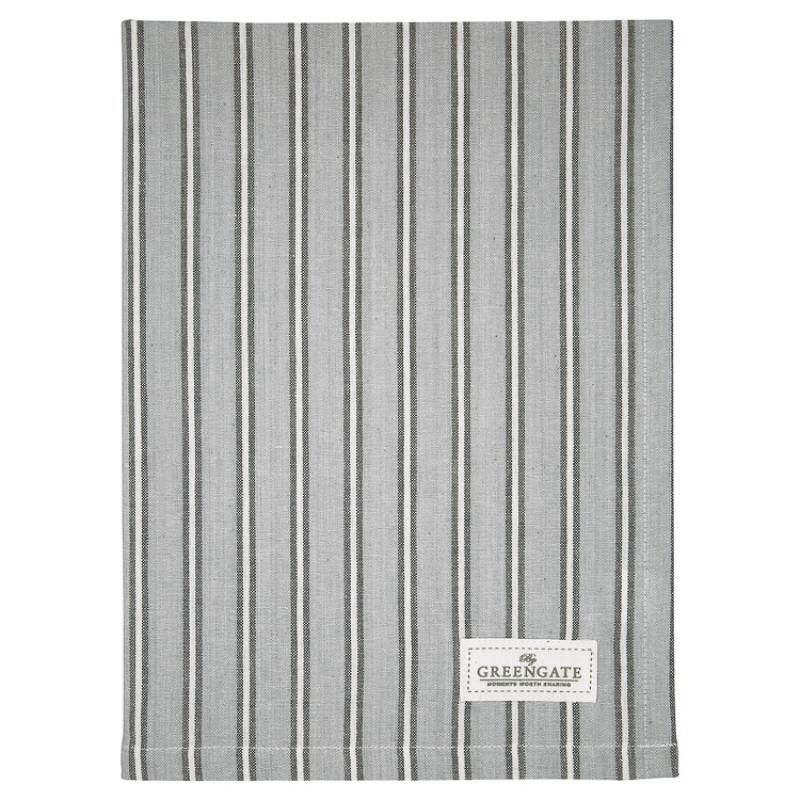 Greengate Geschirrtuch RILEY Grau Schwarz Gestreift Baumwolle 50x70 GG Produkt Nr COTTEARLY8112