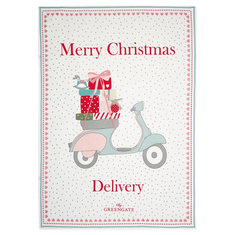 Greengate Geschirrtuch SCOOTER Merry Christmas Delivery mit Roller und Geschenke GG Produkt Nr COTTEAPPSCO0112