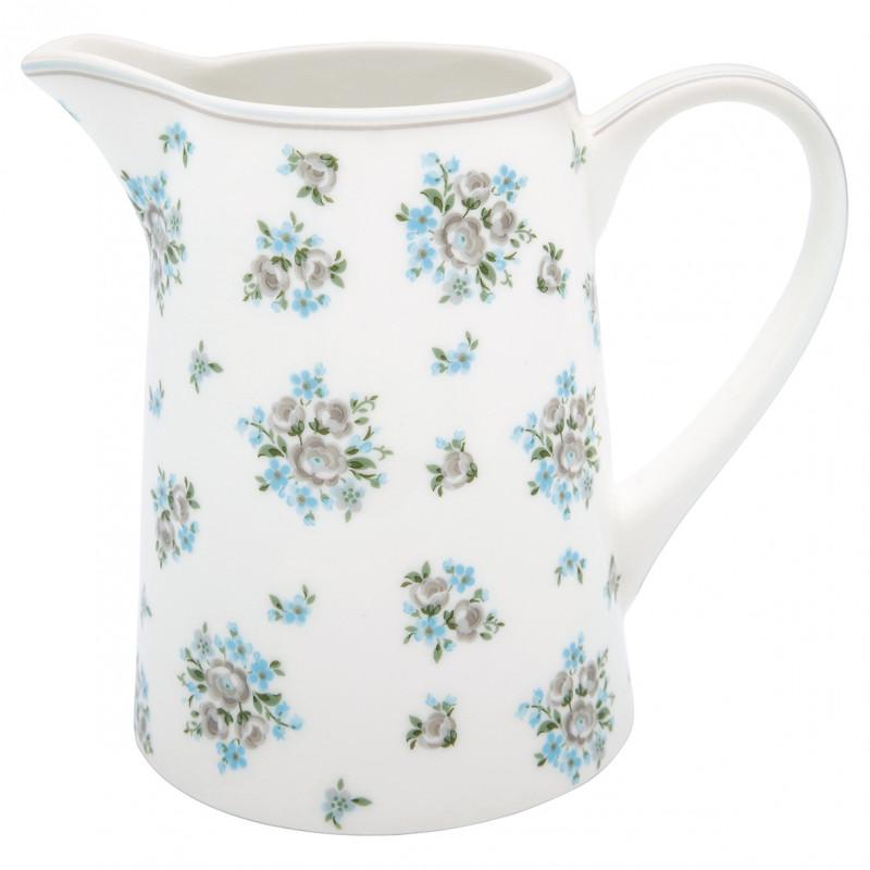Greengate Kanne NICOLINE Weiß aus Porzellan Krug mit blauen und grauen Blumen 1 Liter Greengate Produkt Nummer STWJUG1LNIC580