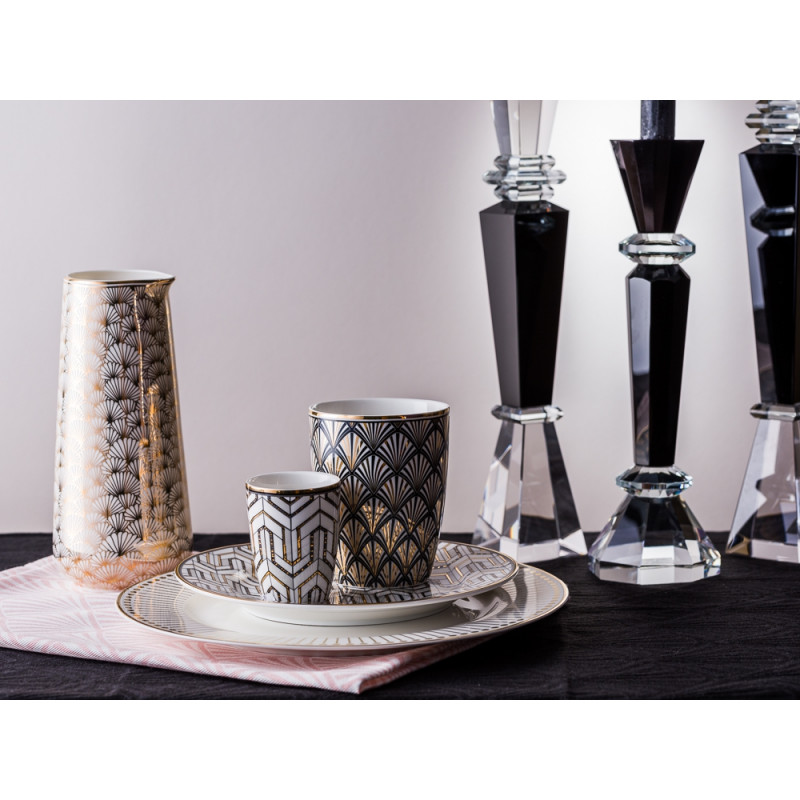 Greengate Kerzenhalter Kristallglas schwarz und Gate Noir Geschirr Jacqueline Krug gold Latte Cup Becher Celine Espresso Tasse und Teller Madie Dawn