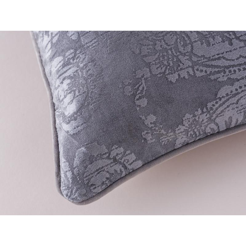 GreenGate Kissenhülle 50x50 grau Gate Noir Kissen Ornament Muster und Material im Detail