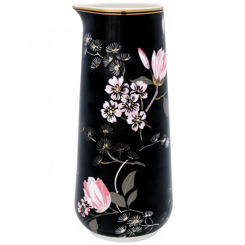 Greengate Krug Amelie schwarz rosa Blumen Gate Noir Kanne Porzellan mit Goldrand 0.7 Liter