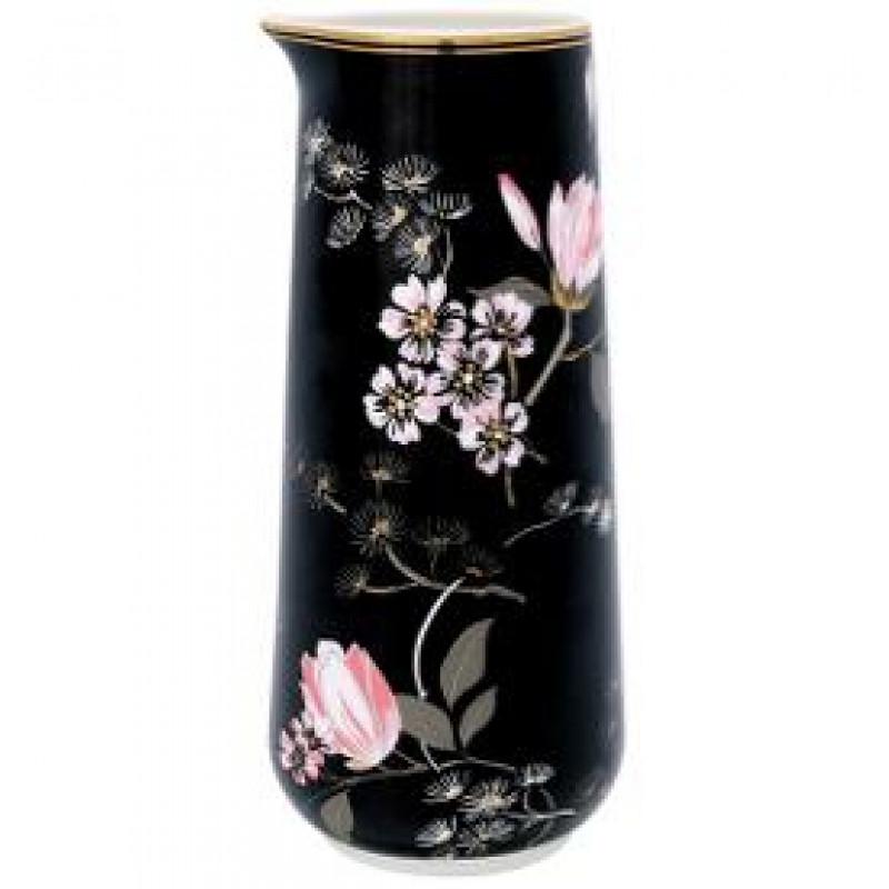 Greengate Krug Amelie schwarz rosa Blumen Muster Gate Noir Kanne mit Goldrand