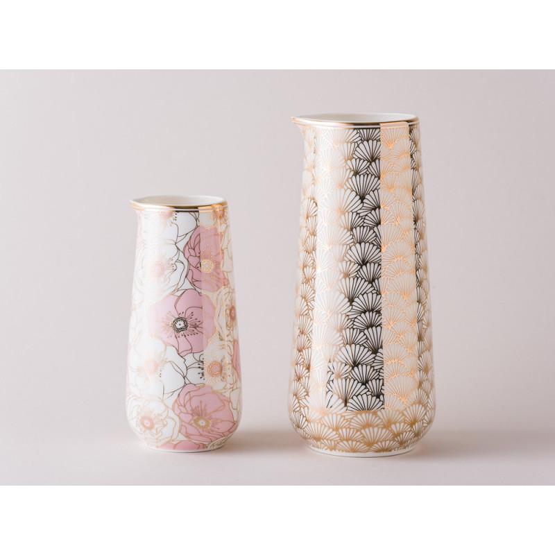 Greengate Krug aus Porzellan Flori Pale Pink 0.4 Liter und Jacqueline gold 0.7 Liter Gate Noir