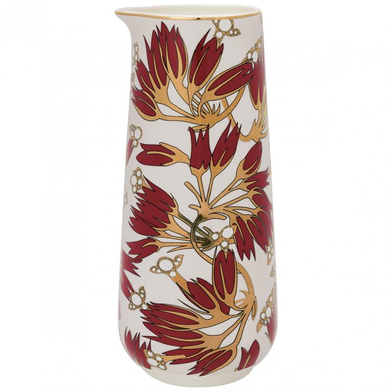 Greengate Krug Florette bordeaux rot weiß Blumen Gate Noir Kanne 0.7 Liter Geschirr mit Goldrand