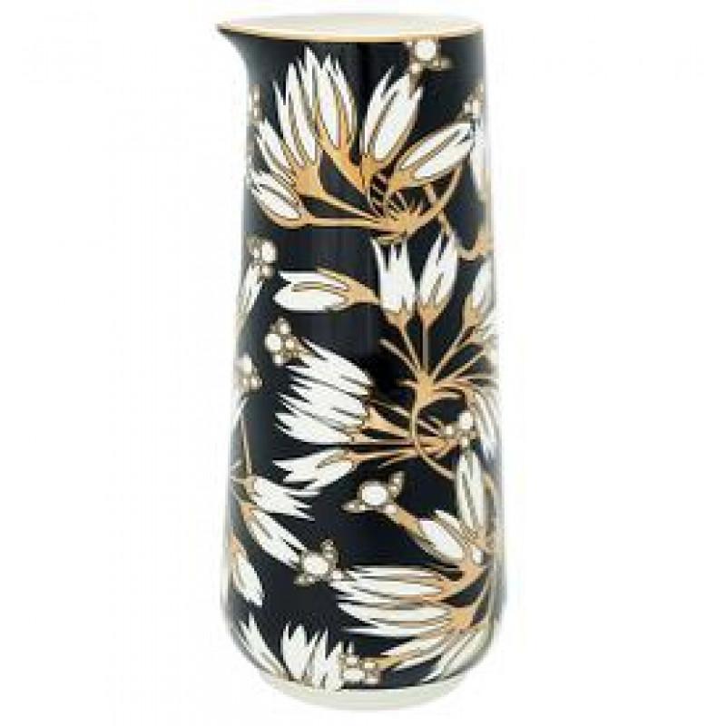 Greengate Krug Florette schwarz weiß Blumen Design Gate Noir Kanne mit Goldrand