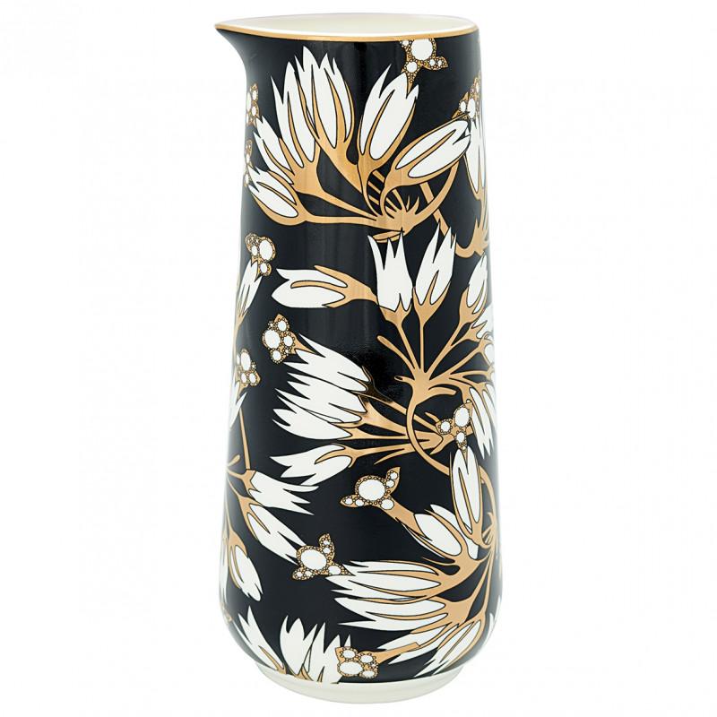 Greengate Krug Florette schwarz weiß Blumen Gate Noir Kanne 0.7 Liter Geschirr mit Goldrand