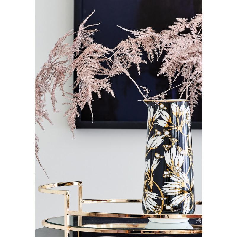 Greengate Krug Florette schwarz weiß Blumen Gate Noir Kanne aus Porzellan als Blumenvase