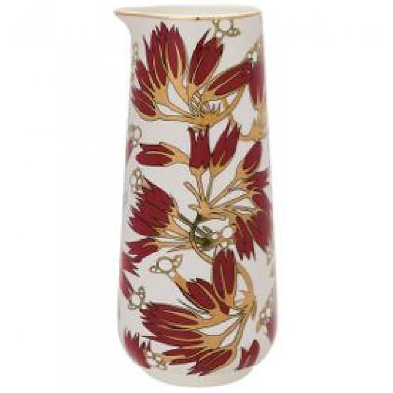 Greengate Krug Florette weiß mit Blumen Design in bordeaux rot Gate Noir Kanne mit Goldrand