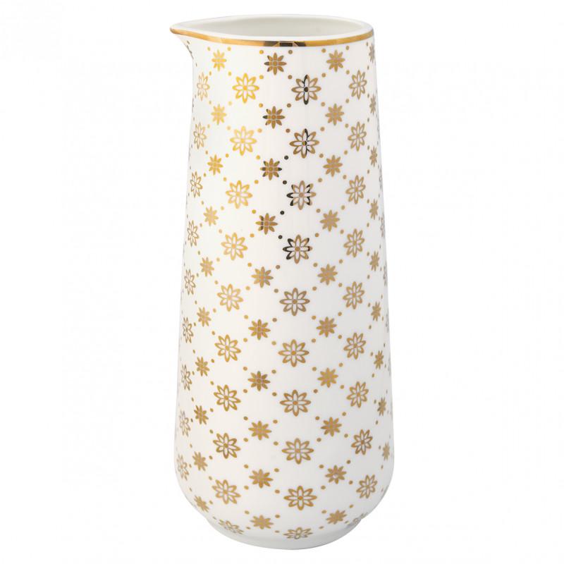 Greengate Krug Laurie gold weiß Kanne mit Goldrand 700 ml Porzellan Geschirr