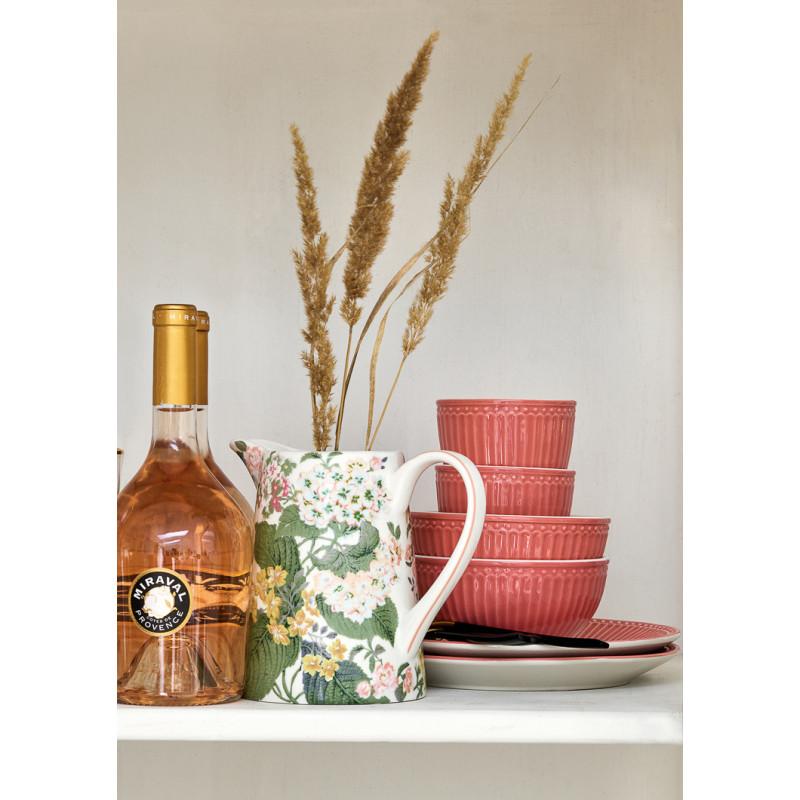 Greengate Latte Cup ALICE Coral Kaffee Becher Schalen und Kuchenteller aus der Everyday Geschirr Kollektion Koralle mit Blumen Krug