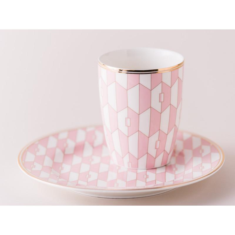 Greengate Latte Cup Becher Aurelie Pale Pink Rosa und Teller mit Goldrand aus Porzellan