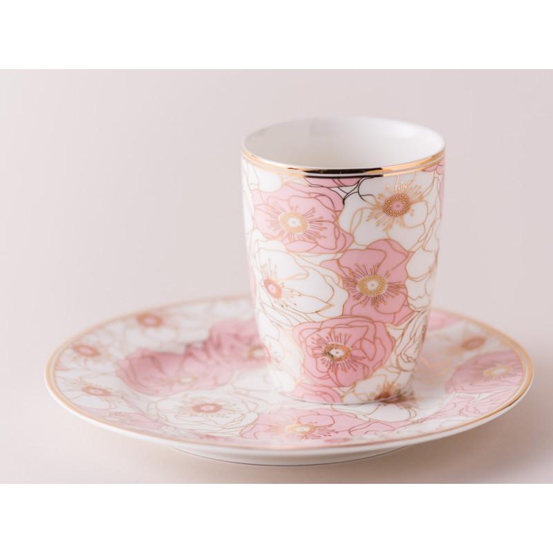 Greengate Latte Cup Becher Flori Pale Pink Rosa und Teller mit Goldrand aus Porzellan