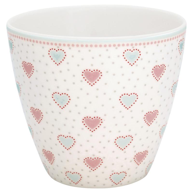 Greengate Latte Cup Becher PENNY Weiss mit Herzen GG Produkt Nr STWLATPNY0106