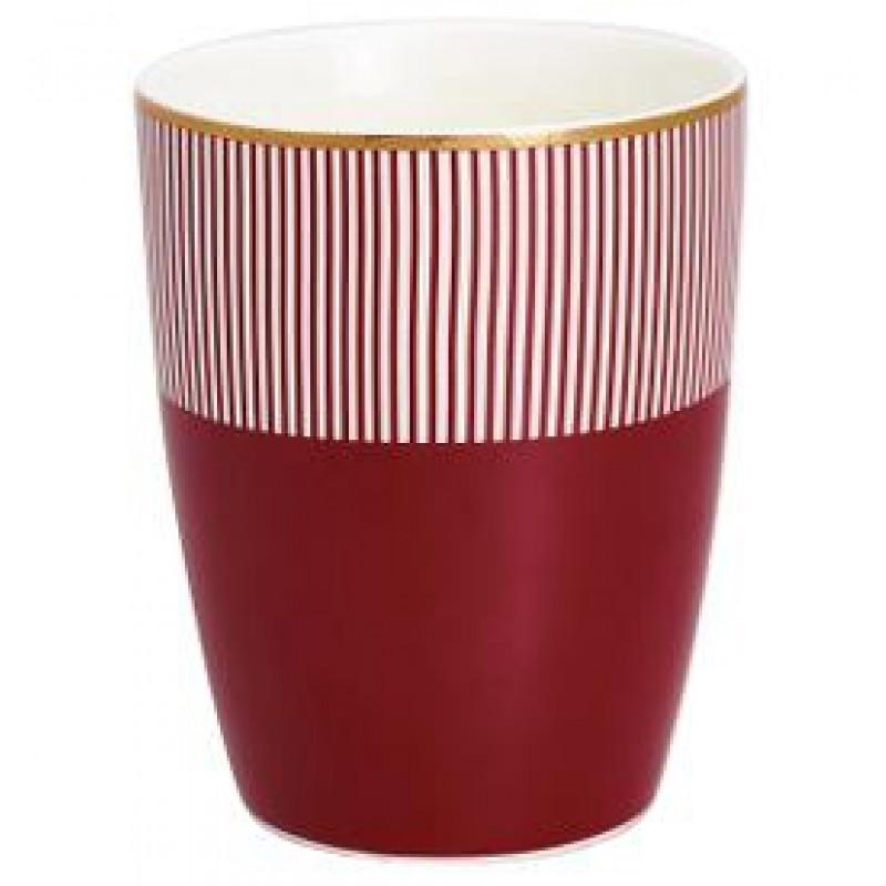 Greengate Latte Cup Corine bordeaux rot mit weißen Streifen Gate Noir Geschirr mit Goldrand