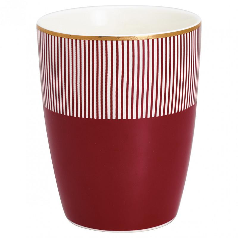 Greengate Latte Cup Corine bordeaux rot mit weißen Streifen Gate Noir Porzellan Becher mit Goldrand