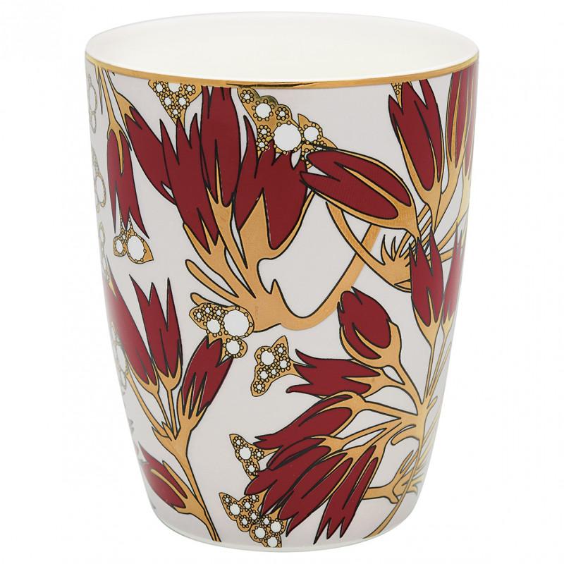 Greengate Latte Cup Florette weiss bordeaux rot gold mit Blumen Design Gate Noir Geschirr mit Goldrand aus Porzellan