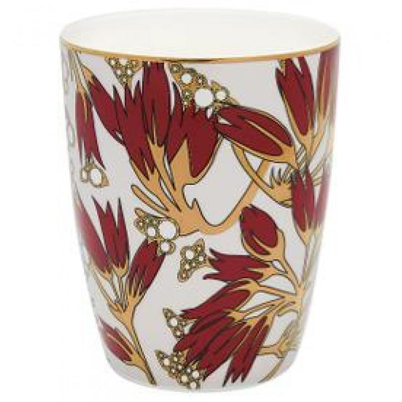 Greengate Latte Cup Florette weiß mit Blumen Design in bordeaux rot gold Gate Noir Geschirr mit Goldrand