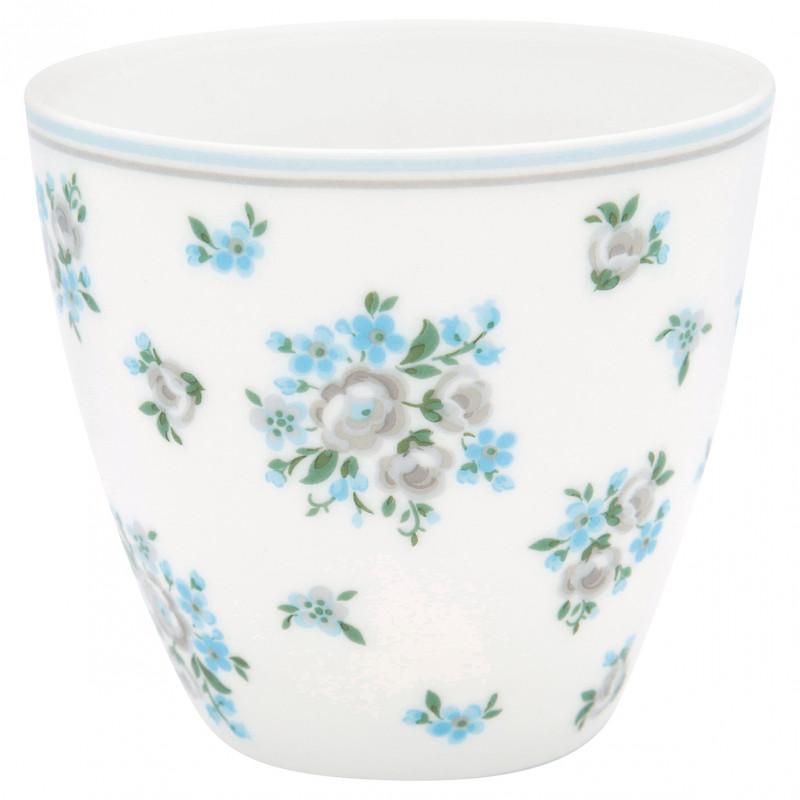 Greengate Latte Cup NICOLINE Kaffee Becher aus Porzellan weiß mit blauen Blumen 300ml Greengate Produkt Nr. STWLATNIC5806