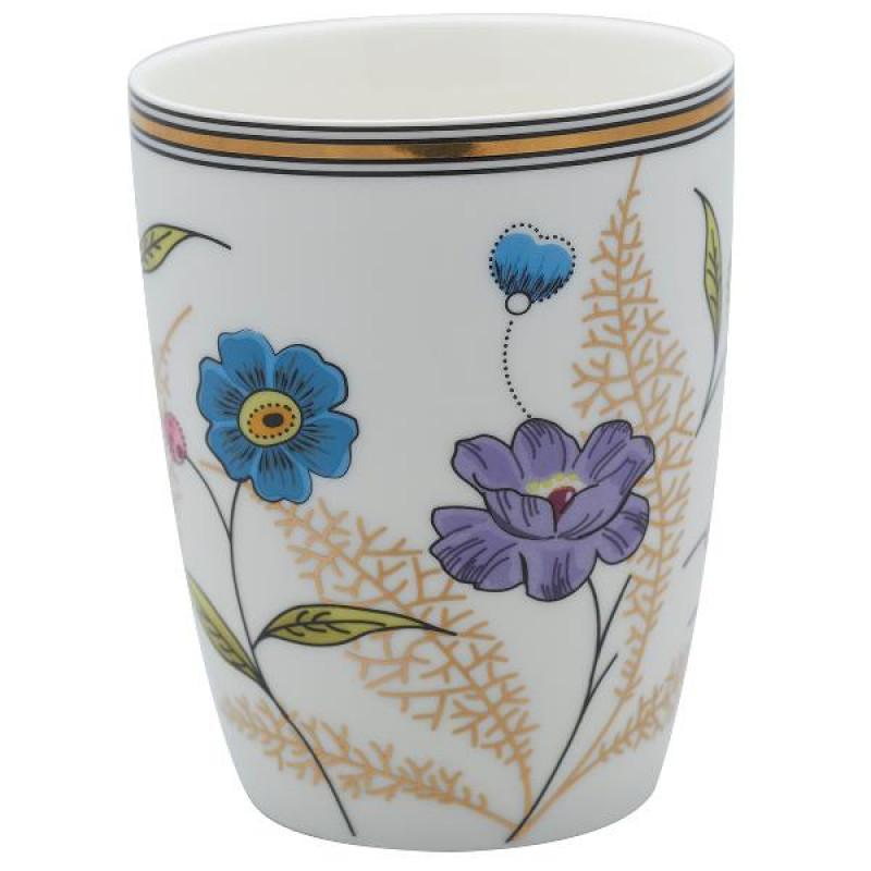 Greengate Latte Cup Tiphanie weiß mit Blumen Design Gate Noir Geschirr mit Goldrand