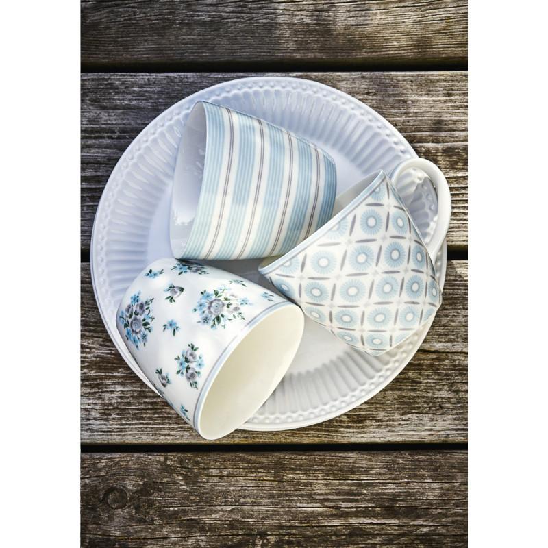 Greengate NICOLINE TOVA Latte Cup und Kaffee Becher ALVA mit Henkel aus Porzellan weiß mit blaue Blumen Streifen Ornamente