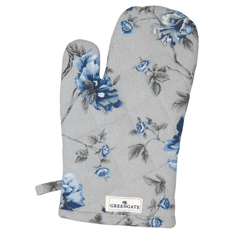 Greengate Ofenhandschuh CHARLOTTE Grau Blau Blumen Baumwolle BBQ Handschuh GG Produkt Nr COTGRICHL8104