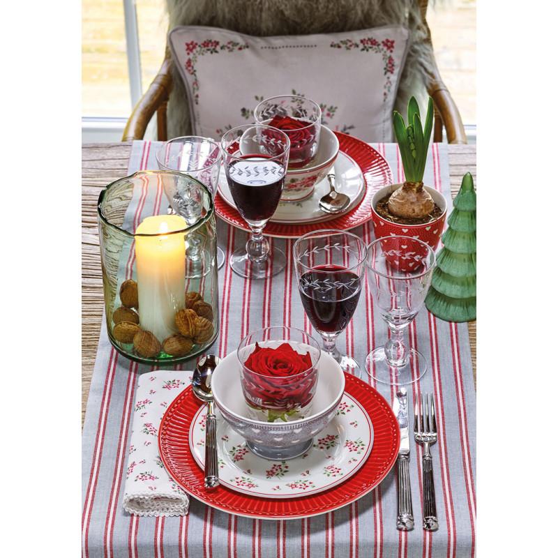 Greengate PENNY AVERY ELOUISE Schale Latte Cup Becher Teller Weiss Rot Grau Blumen und Herzen Design Geschirr aus Porzellan kombiniert mit Alice Teller Rot floraler Hygge Tisch