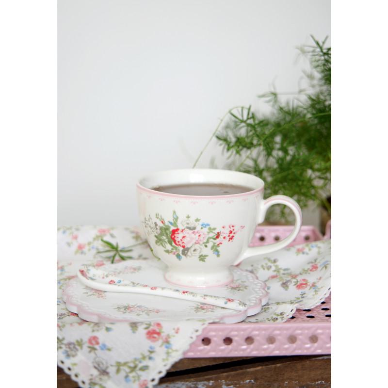 Greengate PETRICIA Teetasse und Untersetzer Weiss Pale Pink mit Blumen Porzellan Geschirr Tasse Rand in Rosa und CARLY Löffel florales Muster