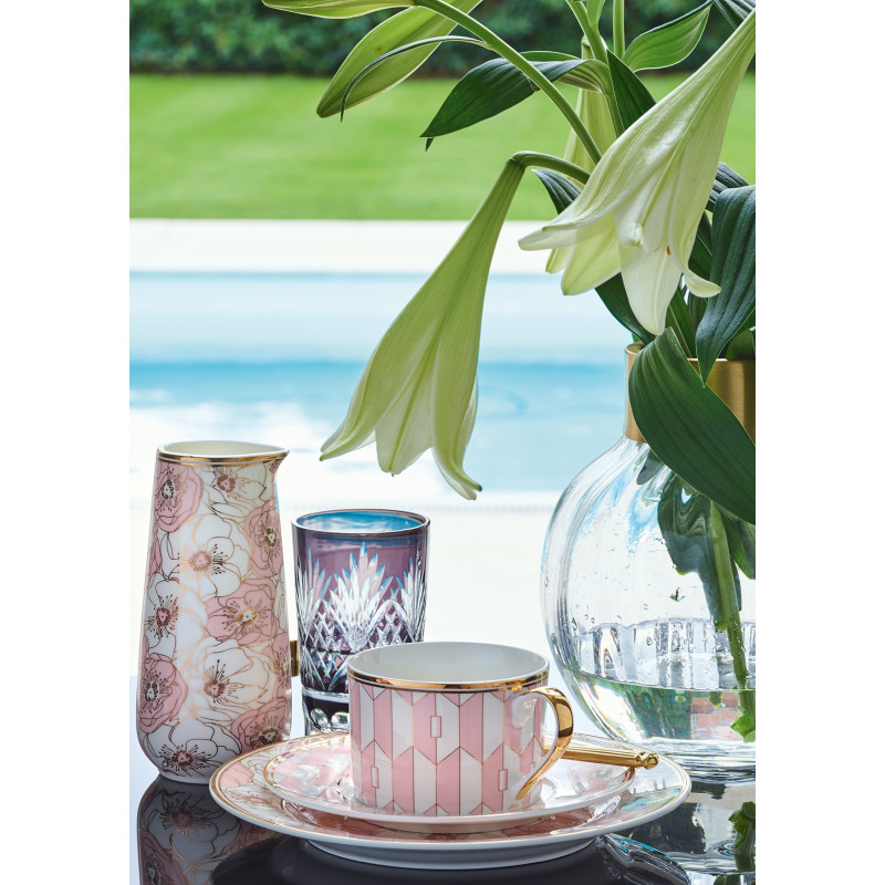 Greengate Porzellan Geschirr Gate Noir Flori Pale Pink Teller und Krug mit Goldrand