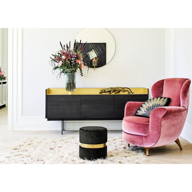 Greengate Pouf schwarz Samt mit Gold Ring Gate Noir Hocker mit rosa Sessel und Vase