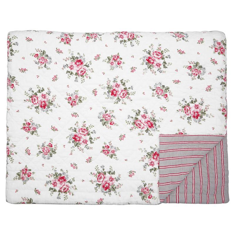 Greengate Quilt ELOUISE Weiss Rot Blumen Decke 140x220 cm GG Tagesdecke Nr QUIBED140ELO0102