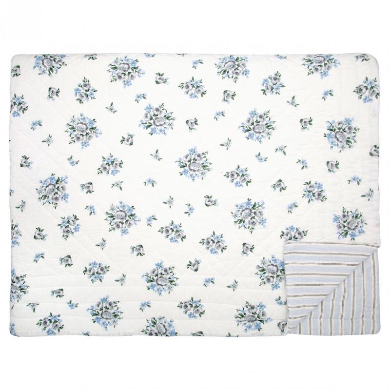 Greengate Quilt NICOLINE Weiss Blau Decke aus Baumwolle 140x220 cm Tagesdecke mit Blumen Greengate Produkt Nummer QUIBED140NIC580