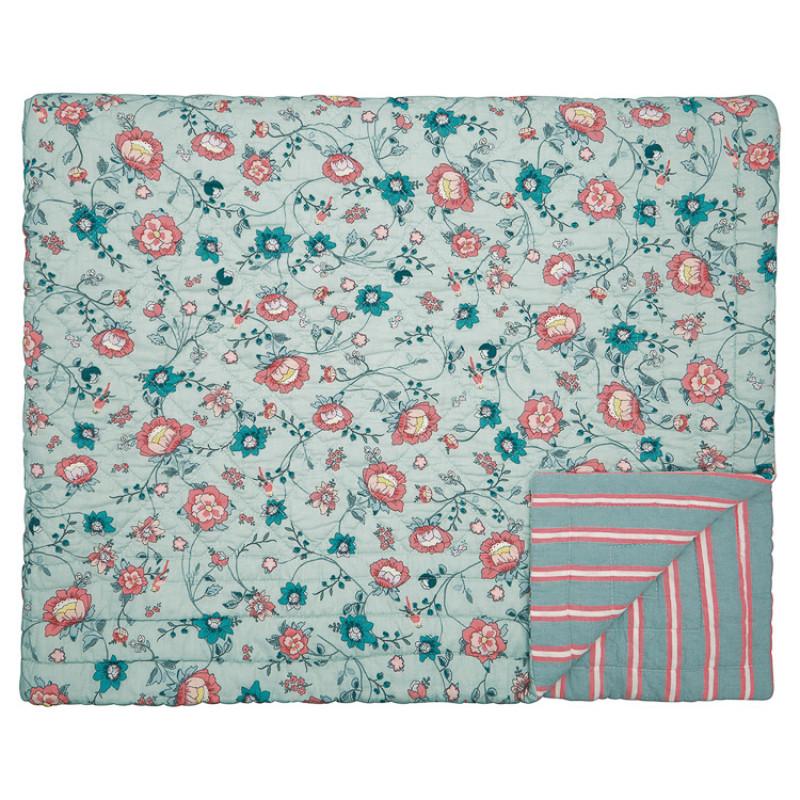 Greengate Quilt SIENNA Dusty Mint Grün Blumen Decke 140x220 cm GG Tagesdecke Nr QUIBEDQUIBED140SIE4102