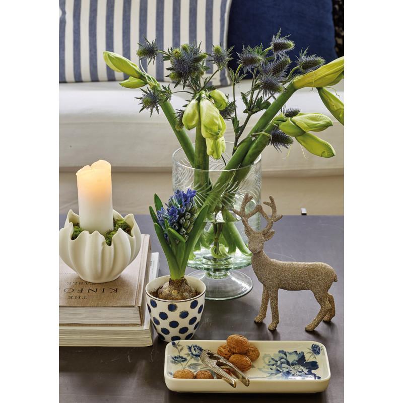Greengate SAVANNAH CHARLOTTE Latte Cup Becher Tablett Teller Eckig Weiss Blau mit Blumen Porzellan Geschirr und TULIP Schale mit Kerze