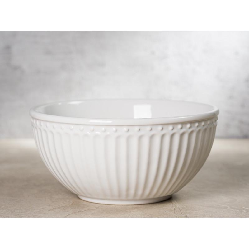 Greengate Schale ALICE Weiss Müslischale Everyday Keramik Geschirr White 450ml Rillenmuster Hygge für jeden Tag