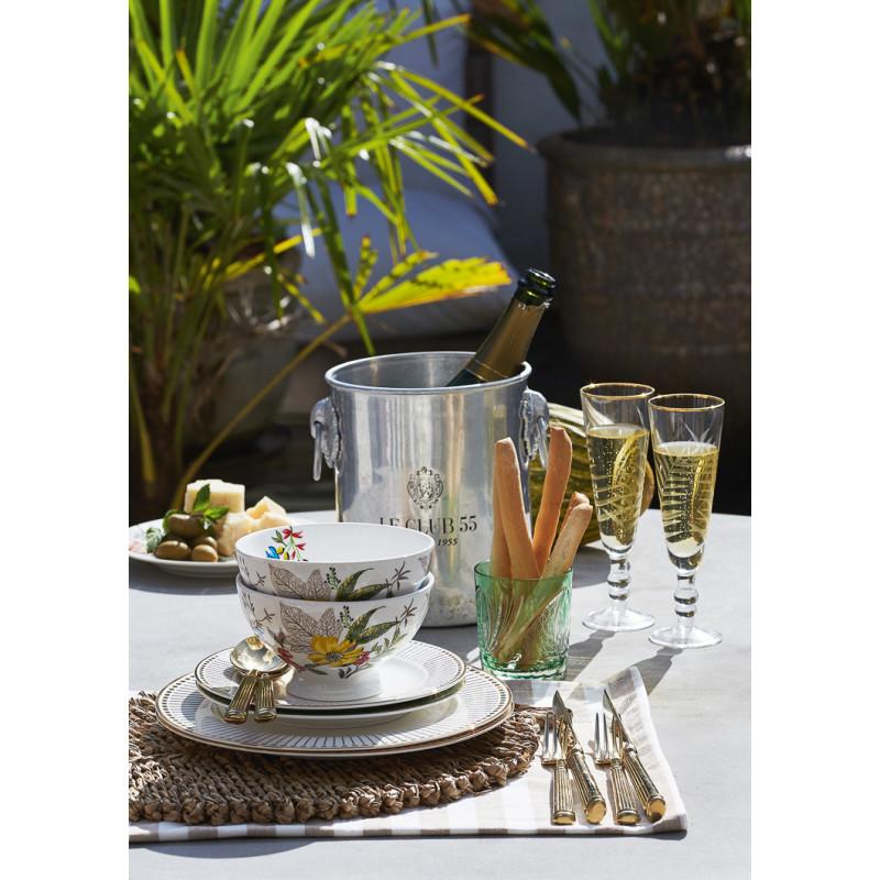 Greengate Schale ELLEN Weiß aus Porzellan mit Blumen Suppenschale Müslischale mit Gold Besteck und Dawn Teller