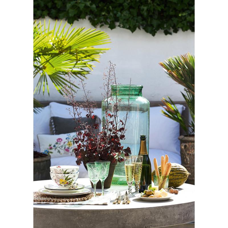Greengate Schale ELLEN Weiß aus Porzellan mit bunten Blumen mit Gold Besteck und Dawn Teller Sekt Frühstück