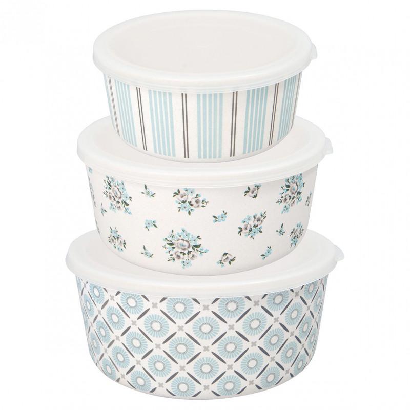 Greengate Schalen Set Nicoline Blau Weiß Schüsseln aus Bambus mit Deckel aus Plastik Greengate Produkt Nummer BAMRBO3PCSNIC5804