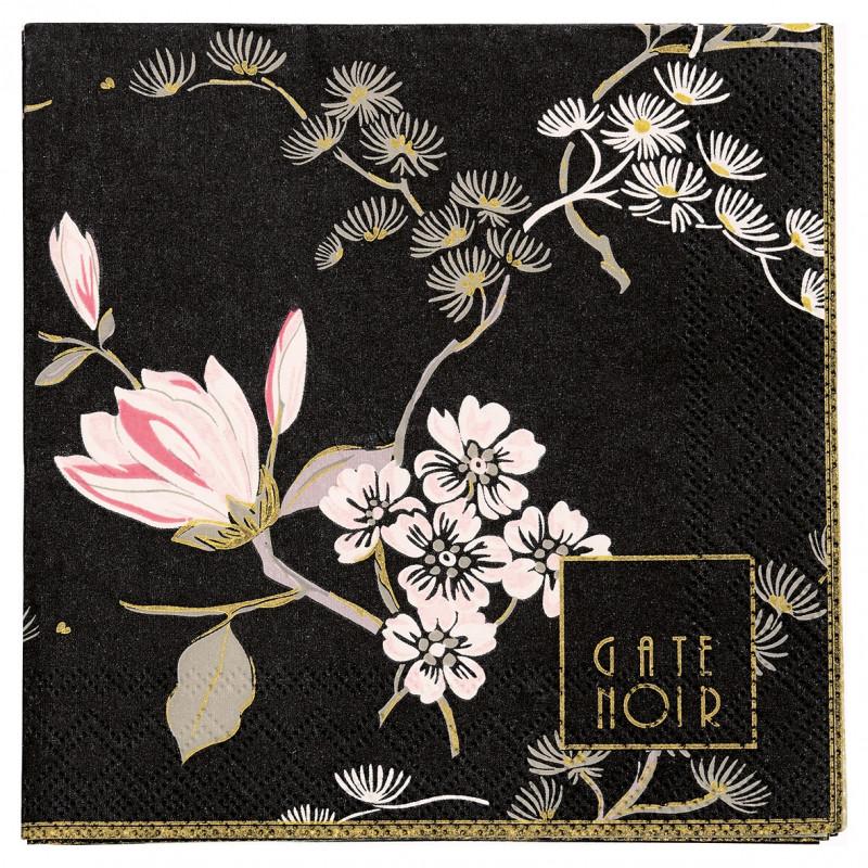 Greengate Servietten Amelie schwarz mit rosa Blumen Gate Noir Papierservietten 12.5x12.5 cm