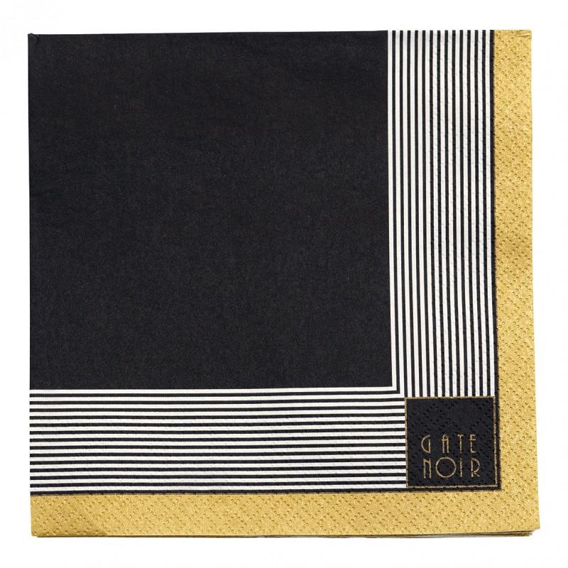 Greengate Servietten Corine schwarz gold Gate Noir Papierservietten 16.5 cm mit Goldrand