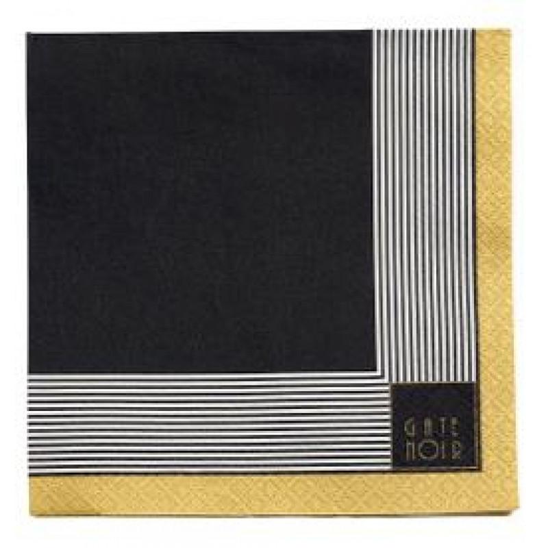 Greengate Servietten Corine schwarz gold Streifen weiß Gate Noir Papierservietten mit Goldrand
